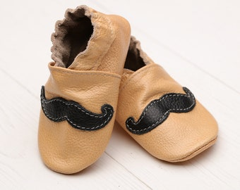 SALE -50% Baby shoes leather Soft sole baby shoes, Toddler shoes, Boys', Crib, Baby shower gift, Infant shoes, Mustache, Evtodi, Chaussons
