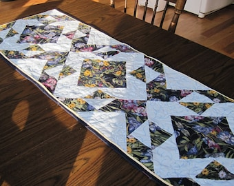 Quilted table runner contemporary  modern floral blue purple yellow