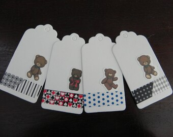 """Teddy bear"" 4 labels measuring 9.5 x 4.5 cm"