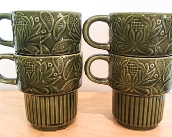 Vintage Olive Green Stacking Mugs