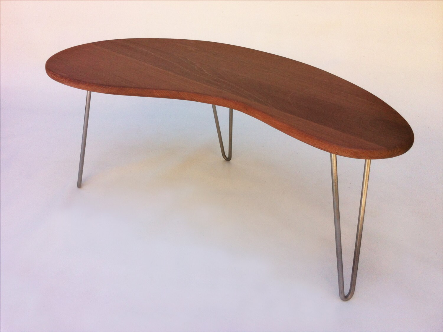 Outdoor IPE Mid Century Modern Coffee or Cocktail Table Kidney