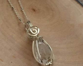 Handcrafted Herkimer Diamond Quartz Crystal Charm Necklace Jewelry Type3