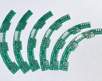 "Vintage RECYCLED Loose Printed Circuit Board Reclaimed (PCB) Green Silver 3"" x 3/8"" Pkg6 PCB55"