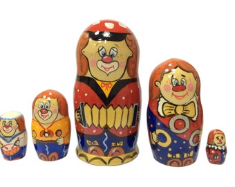 EXCLUSIVE Russian clowns nesting doll with garmon 5 pc Free Shipping plus free gift!