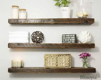 Floating Shelf - Open Shelving - Wall Shelf - Shelving - Reclaimed Shelves - Rustic Hand Crafted - Floating Shelves - Barn Wood Mantel