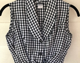 Vintage 1980s Crop top black and white plaid/ Vintage crop top/ Size XS-Small/ crop top wih tie/ Crop top button up aid Crop top/ Sleeveless