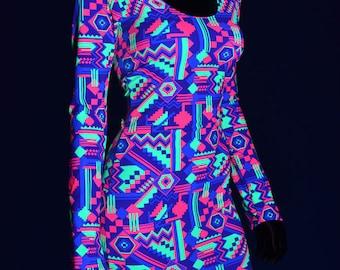 Neon UV Glow Purple, Lime & Hot Pink Geometric Aztec Print Long Sleeve Bodycon Clubwear Party Dress Rave  -E7497