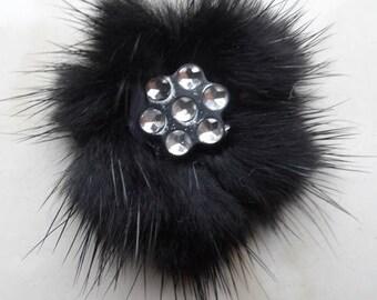 set of 2 wall lights with 30/40 mm black mink fur