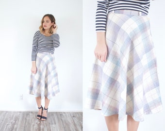 Plaid pastel wool skirt // classic 50's skirt // summer plaid skirt // boho skirt // modest skirt // small skirt // midi checkered skirt