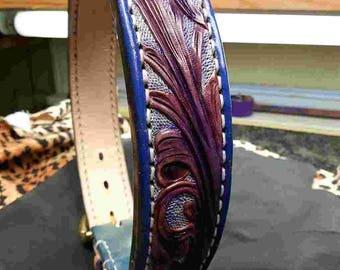 Purple dog collar, purple collars, blue collar, handmade collars, leather dog collars, leather collar, Great Dane collars