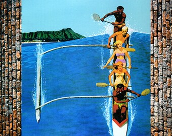Hawaii Outrigger United Airlines Vintage Travel Ad, Sports Ad,Travel Ads, Hawaiian Art, Vintage Art, Giclee Art Print, fine Art Reproduction