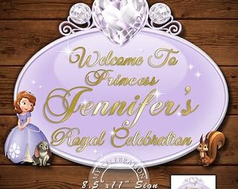 Princess Sofia Sign, Sofia The First Birthday Party Sign, Sofia The First Royal Celebration Printable Digital Sign, Door Sign, Princess