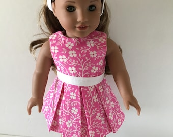 """Doll Dress - Pink  with White Flowers Doll Dress Fits 18"""" Dolls such as American Girl and others"""