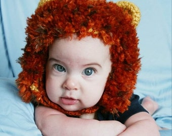 Little Lion Hat- MADE to ORDER- Newborn to toddler photo prop, Halloween