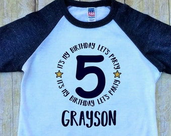 Boys Fifth Birthday Shirt Its My Lets Party 5th Personalized Monogram USA Made Navy Blue