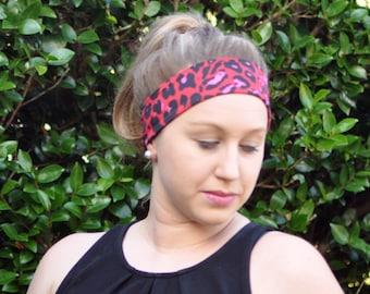 Red yoga headband, workout headband, running headband, funky headband, leopard print head band, dance headband, gift for woman, animal print