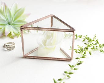 Triangle Clear Glass Ring Bearer, Wedding Ring Box, Glass Box With a Hinged Lid by jacquiesummer