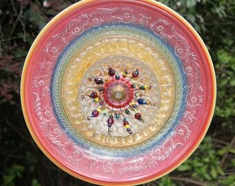 Glass Garden Plate Flower-Bright Fiesta Colors
