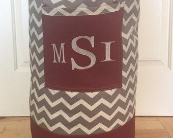 Monogrammed Laundry Duffel Bag, Maroon, Gray & White Chevron, Laundry Bag, Laundry Bag for College, Hanging Laundry Bag, Laundry Hamper