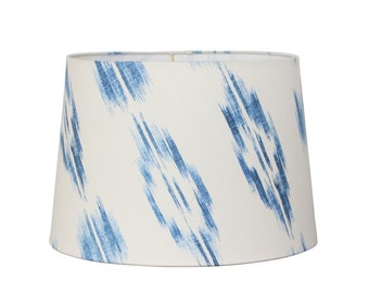 Blue Ikat Lampshade - Tapered Drum Shade - Modern Beach Cottage