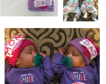 Mom Hat/Dad Hat/Twin Girls' Hats