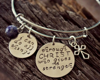 Inspirational | Philippians 4 13 Bangle, I Can Do All Things Through Christ Who Gives Me Strength Bracelet, Christian Bangle, Bible Verse
