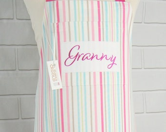 Personalized Apron, Women's Apron, Kitchen Apron, Cooking Apron, Pink Stripe, Embroidery Baking Apron, Mother's Day Gift, Grandma, Aunt Gift