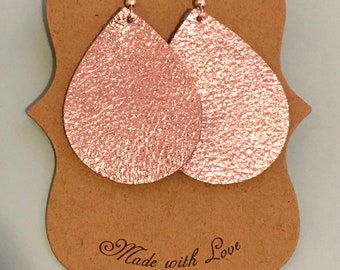 Shiny pink leather earrings