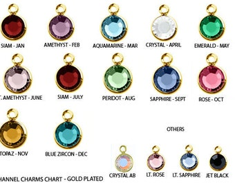 50 Swarovski Birthstones Channel Charms Gold Plated - Specify color C6G-XXX50