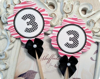 Little Diva Hot Pink and Black Zebra Print Number Cupcake Toppers- Set of 10 - Chic - Favors, Baby Showers, Birthdays