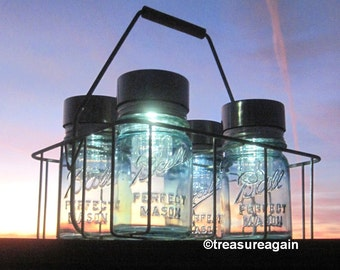 Dairy Basket Garden Lights Ball Solar Jars in Antique Milk Carrier Wire Caddy 4 Blue Pint Mason Jar Solar Lights Patio Table Lights
