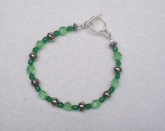 Green Vintage and Silver Polka-Dotted Beaded Bracelet Gift for Her by hipknitta