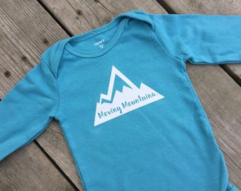 "Moving Mountains - Down Syndrome Awareness Onesies ~ Girls and Boys, White, Grey, Blue, Red Onesie with ""Moving Mountains"" Logo"