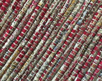 """Hand Woven Table Runner Red Brown 14' x 36"""""""