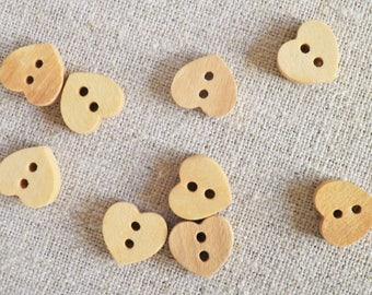 8 wooden heart shaped buttons