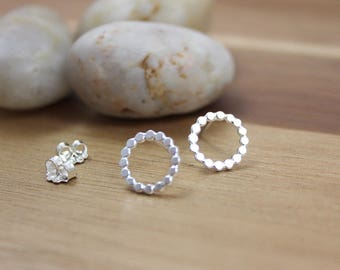 Sterling Silver Circle Studs Dotted Circle Stud Earrings Minimalist Earrings Small Everyday Earrings Gift Under 50 Minimalist Jewelry