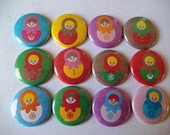 "Matryoshka doll 1"" buttons. (SET OF 20)"