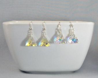 Aurora Borealis Swarovski Crystal Triangle Earrings on Sterling Silver, Short Dangle AB Crystal Earrings, Rainbow Prism Geometric Jewelry