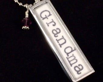 Grandma Necklace, Word Jewelry,  Nana Gift, Grandma Pendant