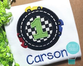 Racecar Birthday Shirt / Car Applique / Boy Racecar Birthday / Personalized Car Shirt / Car Party / Racecar Birthday / Race Track Birthday