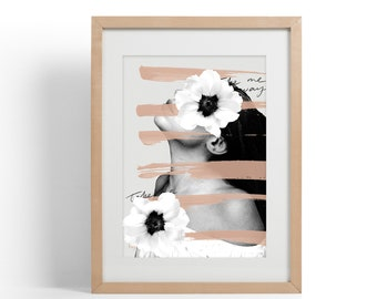 Poppy Collage Edition I Modern Wall Art | Mixed Media Collage