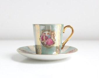 Demitasse Teacup, Blue Teacup Set, Fragonard Teacup, Fragonard Teacup Set, Teacup & Saucer, Teacup Set, Vintage Teacup, Vintage Demitasse