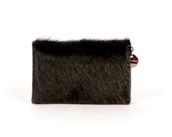 Black Leather Wallet ~ Hair on Hide Wallet ~ Black Card Case