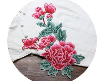 Pink Flower Appliques, Butterfly Patches, Embroidery Patches