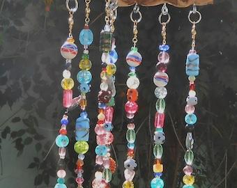 Driftwood and Glass Beads Suncatcher Windchimes - Rainbow suncatcher hanging mobile - Boho chic decor garden ornament - Crystal Suncatcher