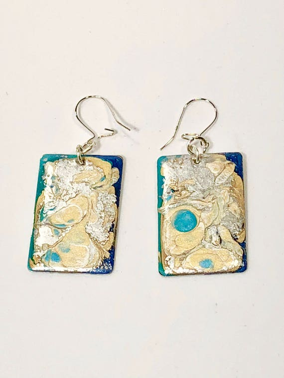 SJC10175 - Handmade rectangular dark blue/turquoise/silver/gold enamel sterling silver earrings with abstract designs