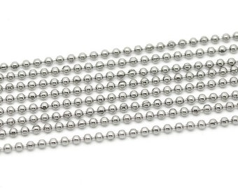 Stainless Steel Ball Chain 2.4mm - 10 feet