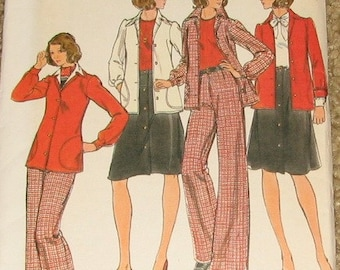 Women's Semi-fitted Jacket, A-line Skirt, Straight-Legged Pants 1970s Vintage Sewing Pattern BUTTERICK 4024, UNCUT