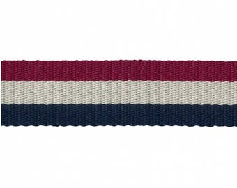 Red/White/Navy 38mm 100% polyester webbing