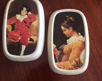 Pair of kitsch ceramic wall hanging picture painting vintage reading girl